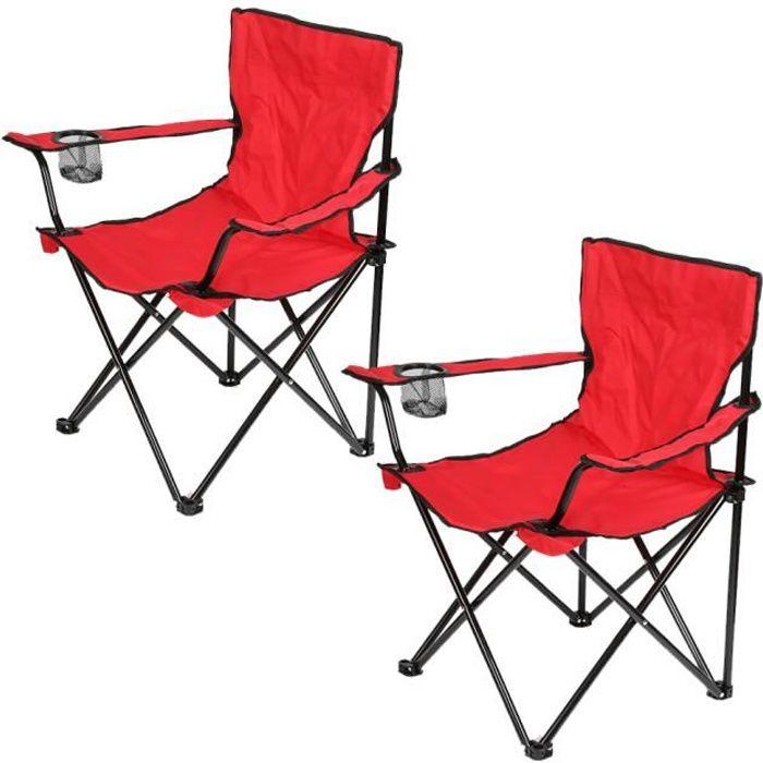 Lot De 2 ROUGE Chaise Pliante Camping Et Jardin Pour Peche Activites Plein Air