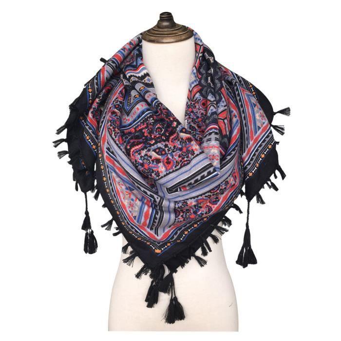 76dfa0a92765 Foulard femme carré écharpe soie 105x105cm GOGOU XY2017-001 cotton ethnique  gland noir