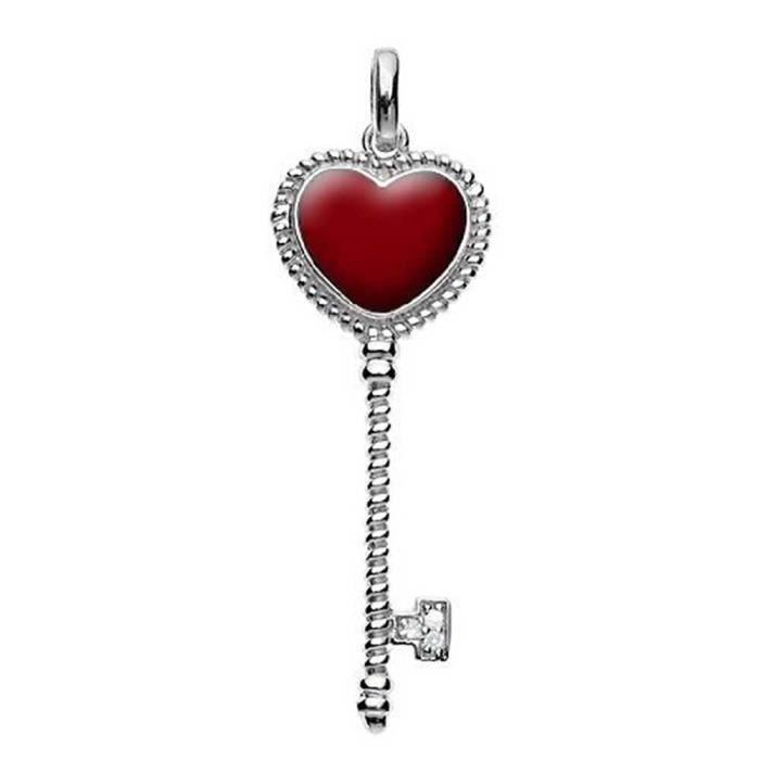 Câble en Argent Sterling Bling Jewelry rouge accent clair coeur CZ Pendentif clé