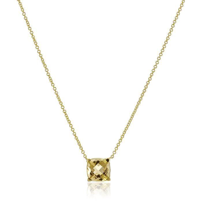 Jewel Panda Argent sterling avec collier de coussin en or jaune Placage Citrine, 18