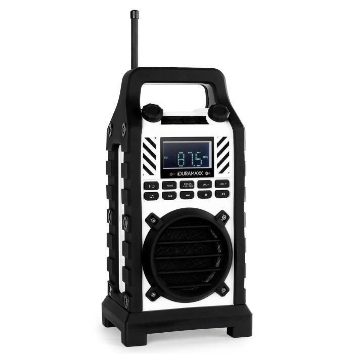 Oneconcept 862-bt-wh - Radio De Chantier Bluetooth Avec Lecteur Usb Sd Mp3 Et Entrée Aux