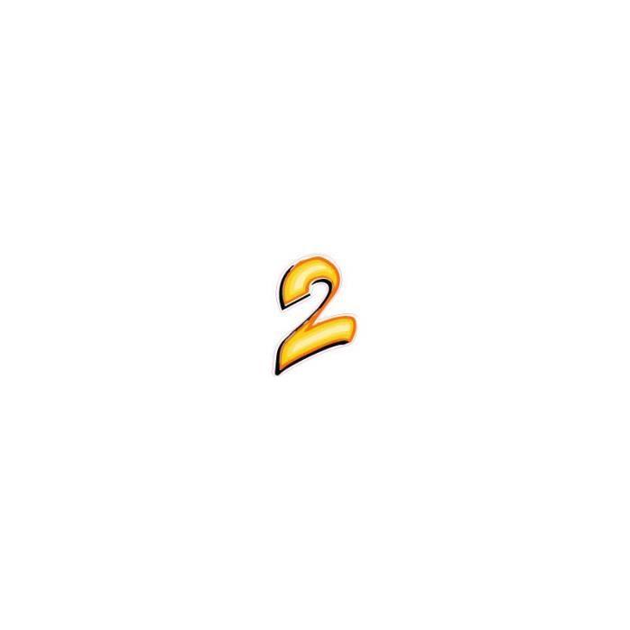 Chiffre En Tag chiffre 2 deux - autocollant sticker style tag jaune adhésif ref69