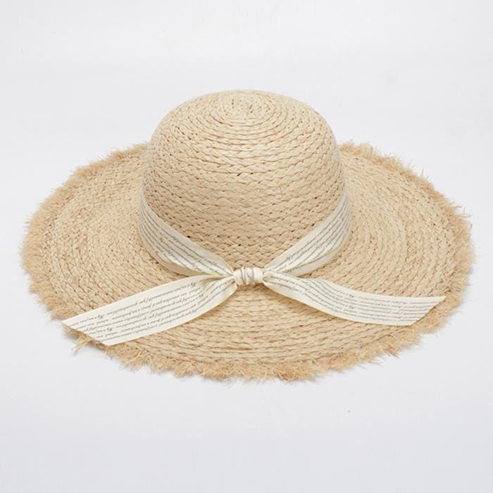 5519c02b34690 GIFT TOWER Chapeau de Paille Femme Fille Chapeau de Soleil Casquette  Main-Tissage Anti-soleil Respirant Plage Eté Voyage