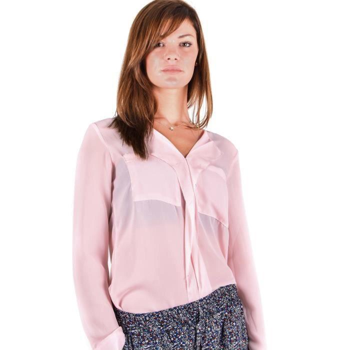 d79ed5e17724 Chemisier rose pâle pour femme Rose Rose - Achat   Vente chemise ...