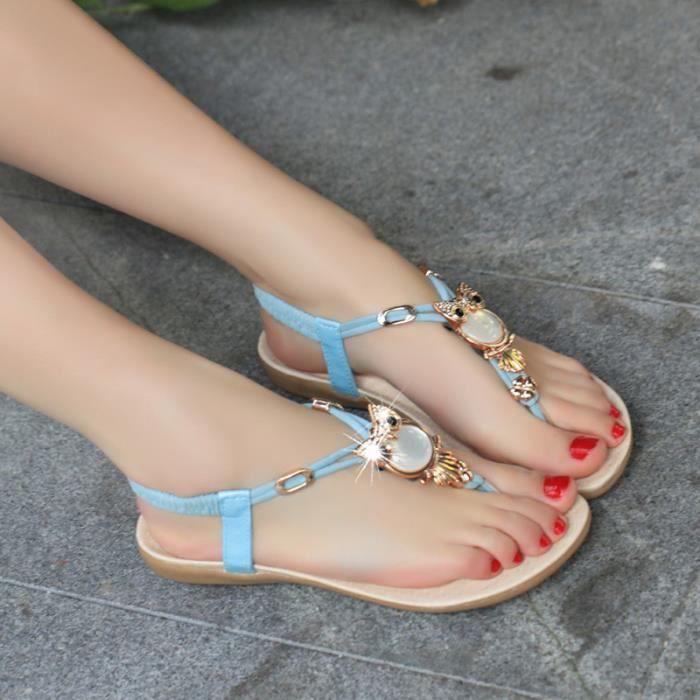 Sandales Bleu Mode Femme En Strass thdQCsr