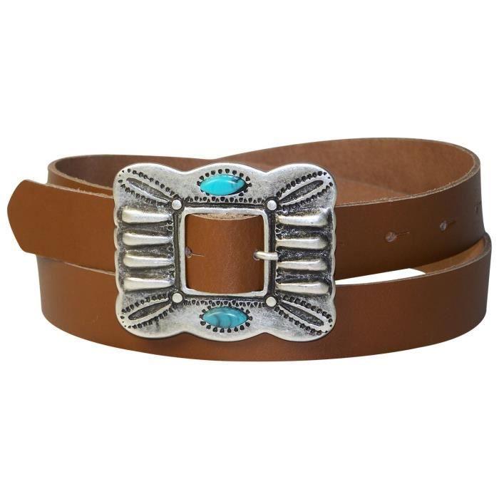 FRONHOFER Ceinture pour femme 2,5 cm boucle de ceinture turquoise,  indienne, ceinture mexicaine,ceinture en cuir véritable, 38947260ee0