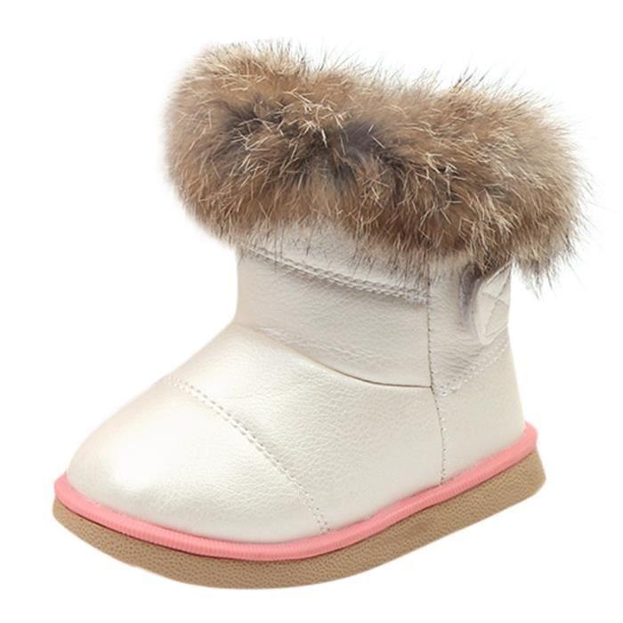 035c74bc3d40f Chaussures Enfants Garçons Filles Enfant En Cuir Hiver Neige Chaussures  Bottes-52