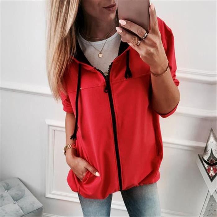 Capuche Femme Manches Zipper Veste Outwear Longues Manteau À Pardessus Sweat Rouge Mode BwHdqzq