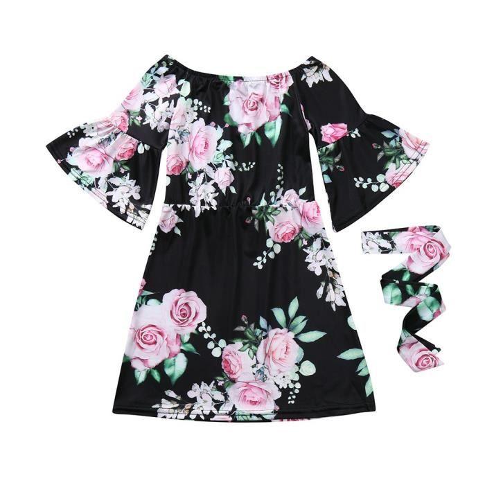 Et Bleu Moi Filles Floral Set Ceinture Épaule Robe Maman Enfants Vêtements Famille Imprimer ZiwXOPuTk