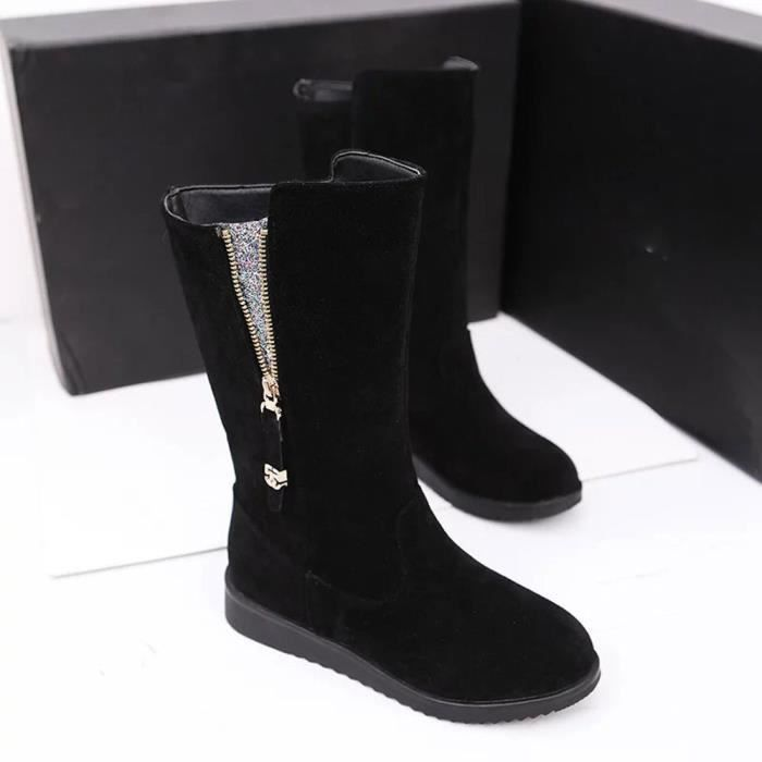 femmes bottes plat hiver chaussures de neige chaudes noir