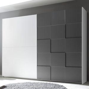 ARMOIRE DE CHAMBRE Armoire 275 cm design blanc et gris laqué TIAVANO