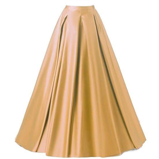 cbbd6cf796895 Maxi Jupe Trapèze Femme Longue de Soirée Orange Rétro Vintage Taille ...