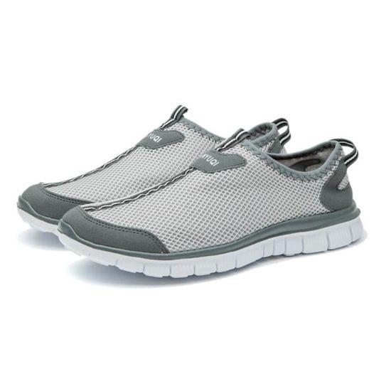 Chaussure Homme Qualité Supérieure Nouvelle Super Lumière Marche Sneaker Hommes Casual Respirant Maille Confortable Taille 47 Blanc Blanc - Achat / Vente basket