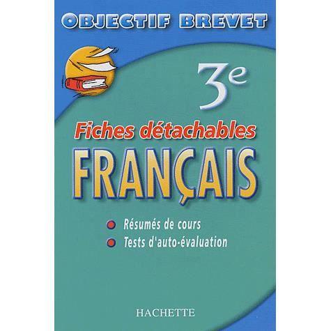 Objectif Brevet Francais 3eme Fiches Detachables Achat