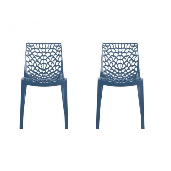 GREEN BOHEME lot de 2 chaises de jardin Gruvyer - En polypropylène - Bleu