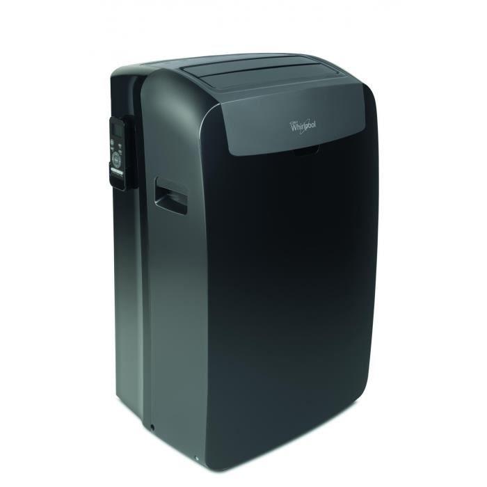 WHIRLPOOL PACB9CO Climatiseur mobile - 3000 watts - 10236 Btu - Classe A+ - 65 dB - 6ème sens - Noir