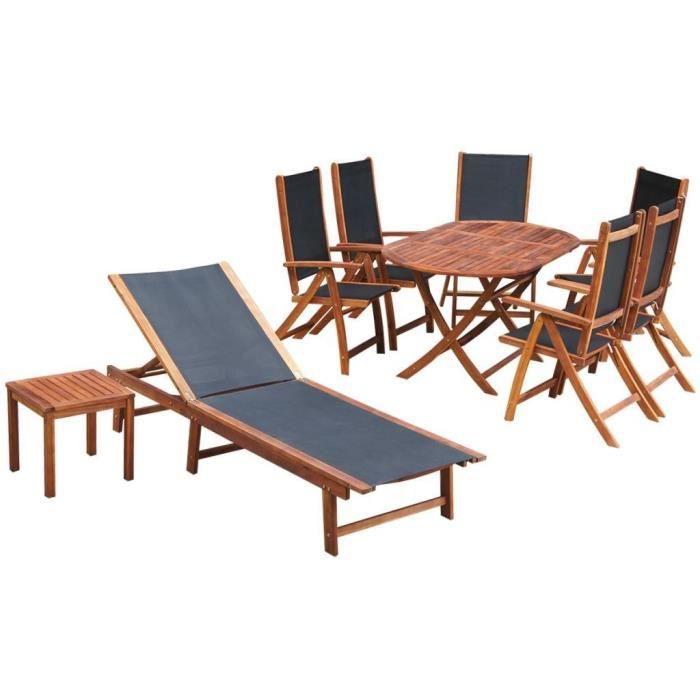 P170 Ensemble de mobilier de jardin 9 pieces Bois d\'acacia Textilene ...
