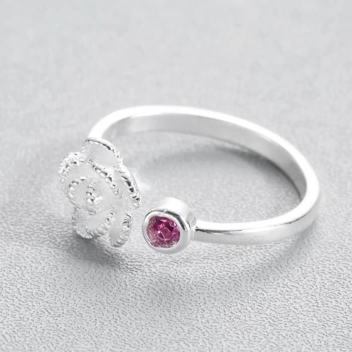 Belle Bague Fleur Pour Filles Nouveau Dames Bijoux Rose Rose Cristal