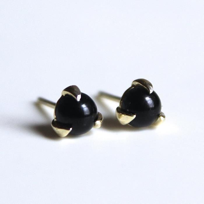 5 mm Femmes Noir 3 broches Boucles doreilles en Nickel 14k en laiton plaqué or AIV2P