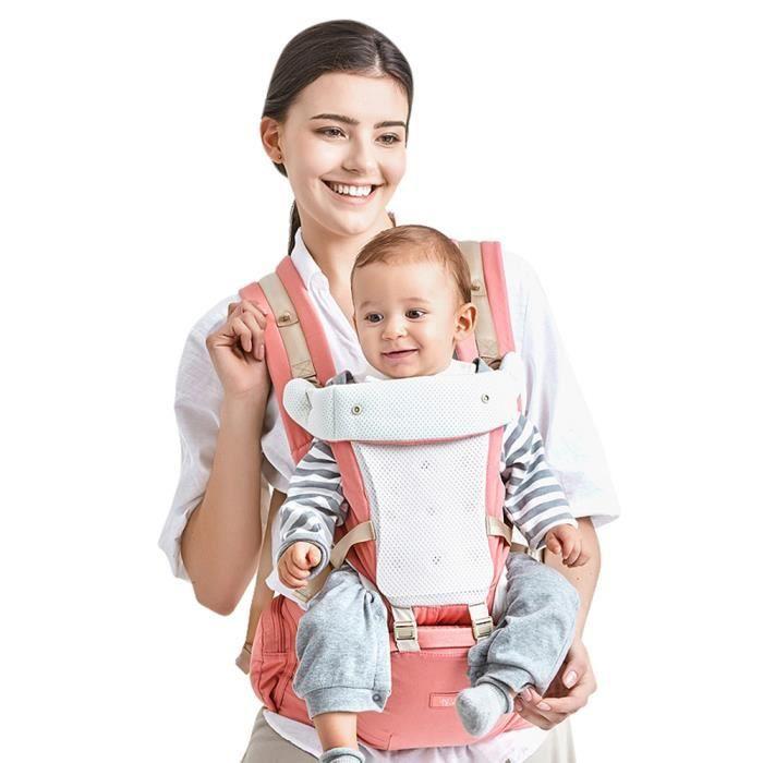 Porte-bébé Ventral et Dorsal Randonnée 4 en 1 Sac à Dos Respirant pour  Vacances Sportives Convient aux Bébés de 0-36 Mois - Rose 45499e6fc4b