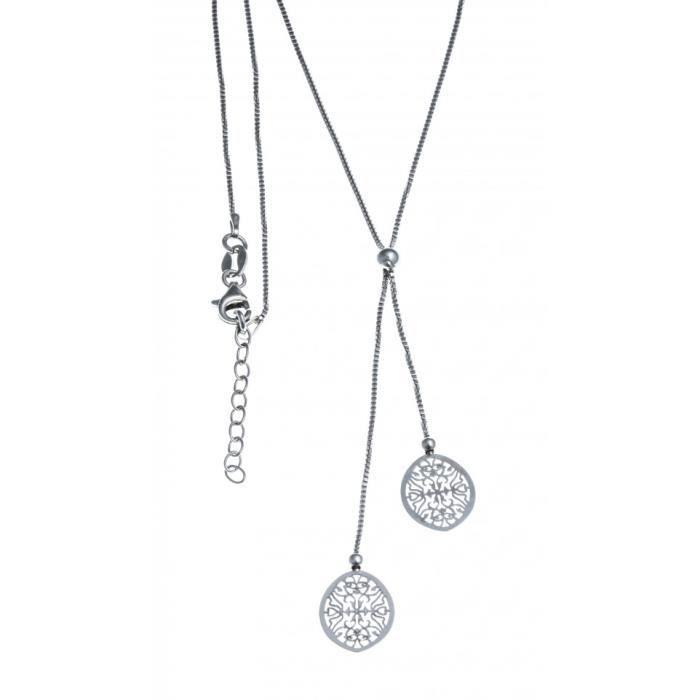 Collier argent rhodié - ovales filigranés - 40+5cm Gris