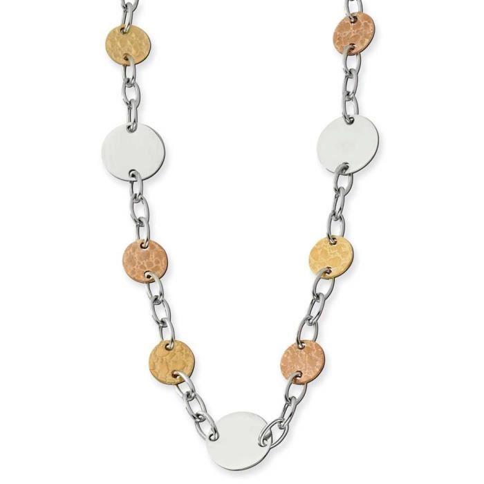 Acier inoxydable doré et Rose plaqué IP-Collier Cercle 24 cm
