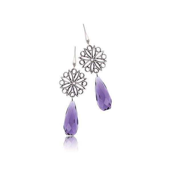 Boucles d oreilles pour Femme fleur et goutte violette - Bijou st valentin femme