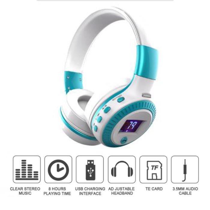 Zealot Casque Bluetooth Audio Lcd Bass Stéréo Blanc Bleu