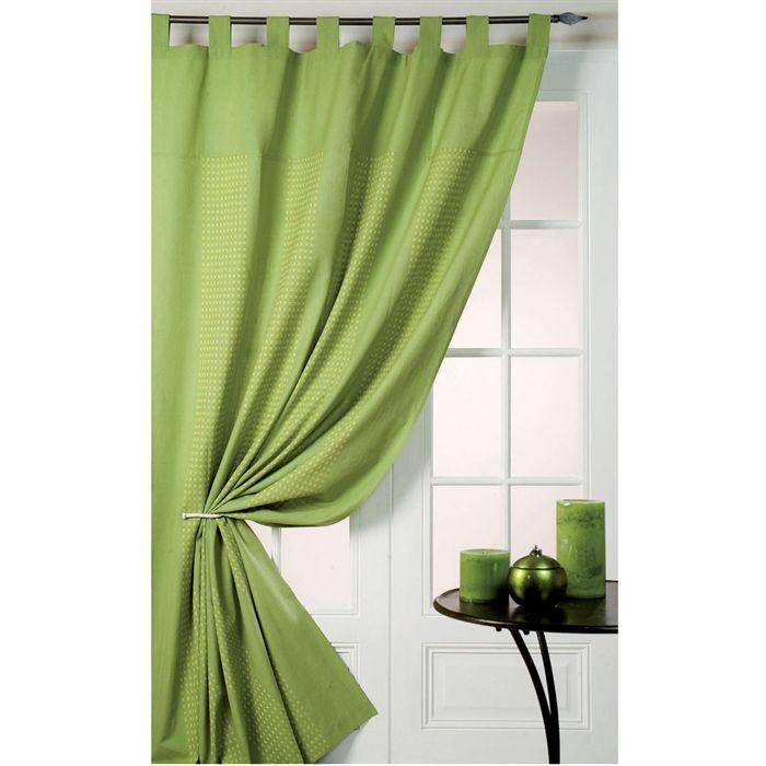rideau home maison vert petites croix achat vente rideau coton cdiscount. Black Bedroom Furniture Sets. Home Design Ideas