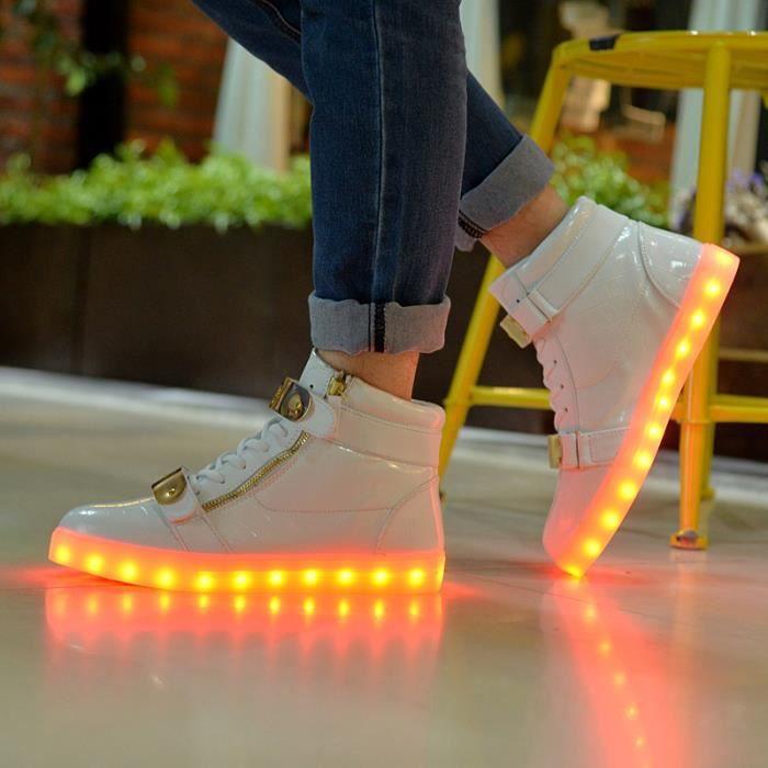7 Couleur Unisexe Homme Femme USB Charge LED Lumière Lumineux Clignotants Chaussures de Sports Baskets Blanc