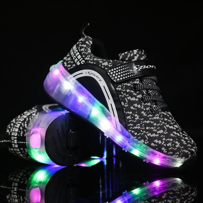 Enfant Heelys Chaussures à Roulettes avec Roues Chaussures pour Enfants Garçons Filles Sneakers skateshoes Noir