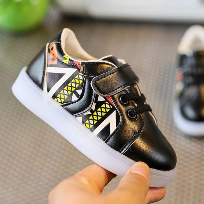 Les espadrilles de mode de bébé ont mené l'enfant lumineux les chaussures légères colorées occasionnelles Noir yyR4l