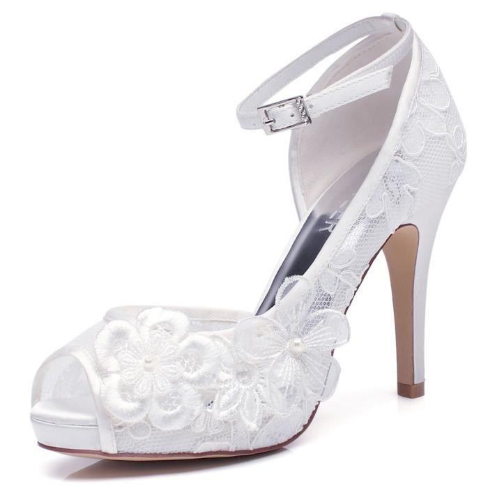 444a1a89d8c0ef Chaussures de mariage en dentelle blanche de la femme pour la mariée avec  talon moyen Brooches Floral-4inch-Peep Toe 3WC0O3 Taille-3