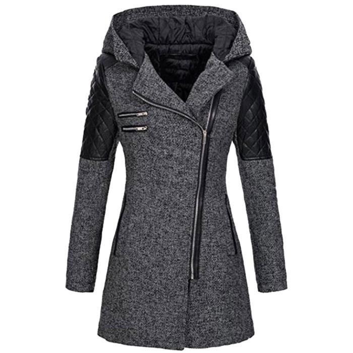 Femmes Caban Veste Slim chaud épais parka d hiver Pardessus Outwear capuche  Manteau Zipper  Gris fbea7ce646a