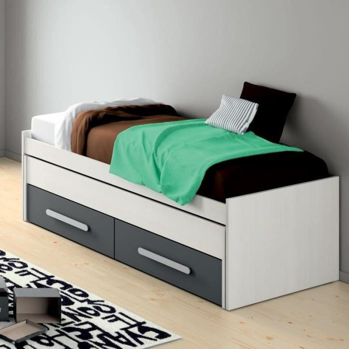 lit gigogne avec tiroirs 90x200 emma blanc anthracite achat vente structure de lit lit