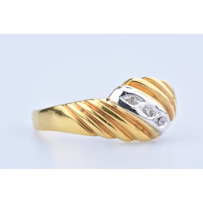 Bague en Or Jaune 18 ct (750/1000)3 Diamants à env 0,02 ct au total 0,03 ct au total