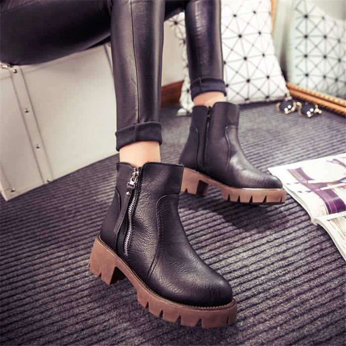 Bottines Femmes Automne Hiver talon épais en cuir bottes BJXG-XZ019Noir35