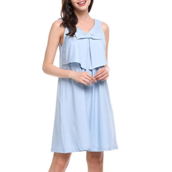 Robe A-LineFemmes Casual sans manches Solid V Neck
