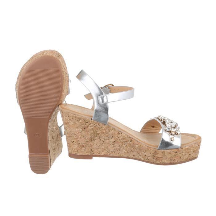 femme sandalette chaussure semelle compensée Wedges escarpin argent