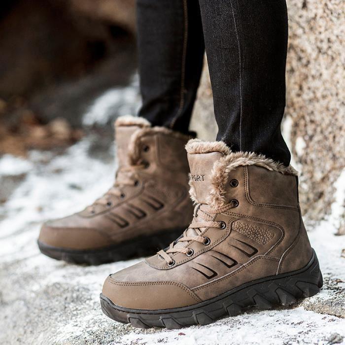 Bottes Homme Bottes courtes Bottes avec coton Bottes pour l'hiver Chaussures étanches Bottes mode Chaussures chaudement Chaussures 3s2eaep