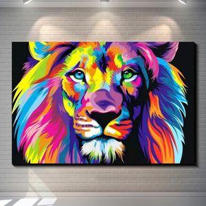 TABLEAU - TOILE Tableau Déco - Toile HD Imprimer Lion des Animaux