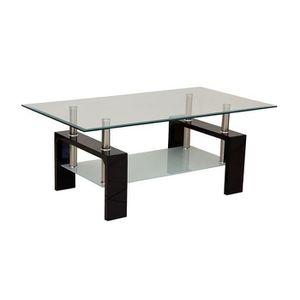 TABLE BASSE Table basse Noire 2 plateaux Focus