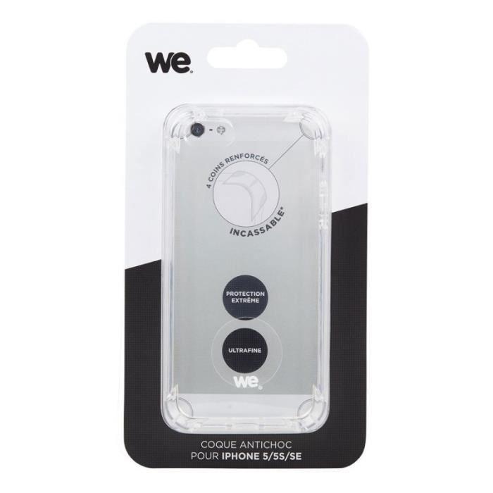 WE Coque pour iPhone 5 et 5s - Anti-choc - Transparente