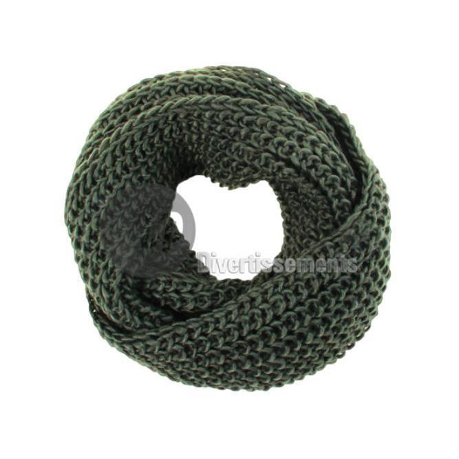 6b5d4f112ac3 Écharpe tube façon tricot vert fonce - Achat   Vente echarpe ...