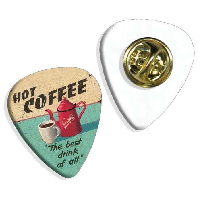 Hot Coffee The Best Drink Of All Martin Wiscombe Insigne de Pick Guitar Vintage Retro