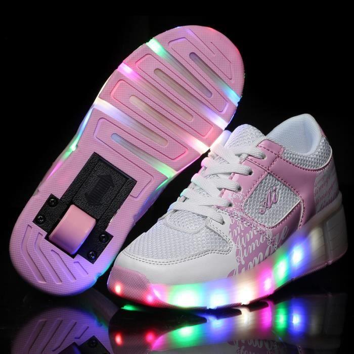 HeelysMode enfants HeelysChaussures LED batterieLED Lumineux Chaussures de Sports Baskets Fille Chaussures