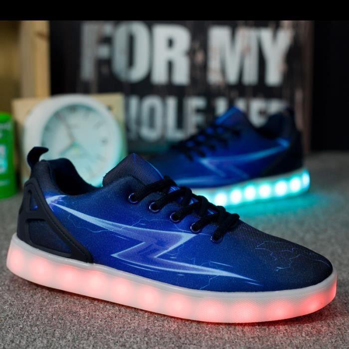Mode lumières colorées chaussures LED lumineux chaussures fluorescentes hommes femmes couple chaussures
