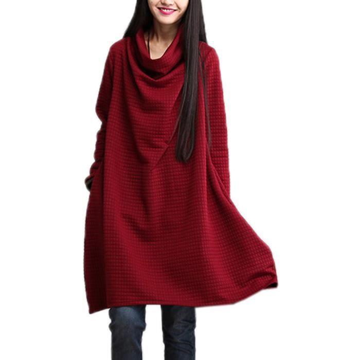 Robe tricoté Femme Pull Coton Col Roulé Manches Longues Automne Hiver Chaud