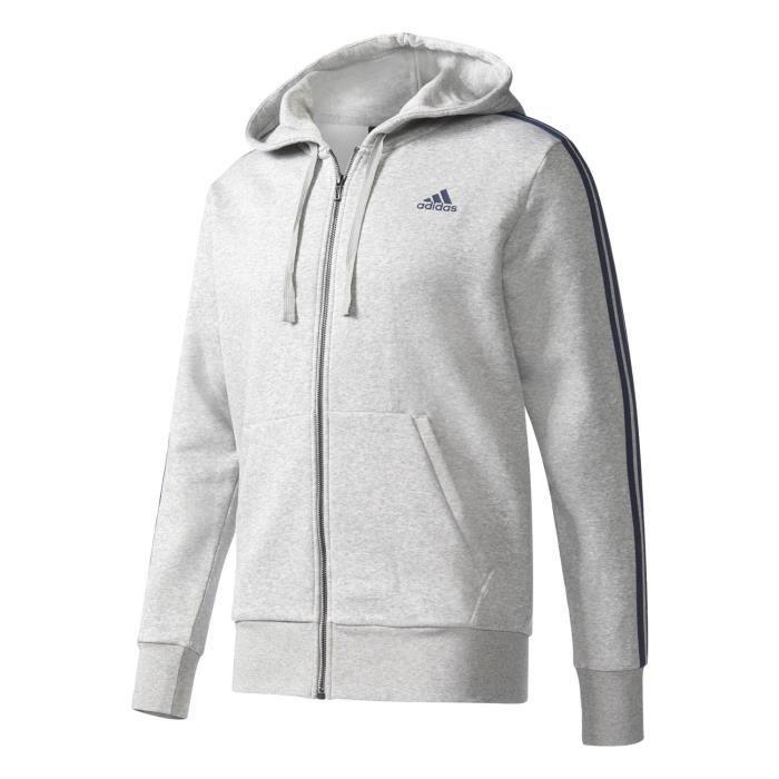 f09061f08f Adidas Performance Veste à Capuche Ess 3-stripes Fz gris, vêtements homme
