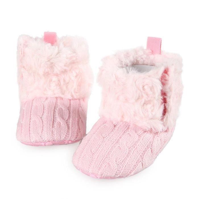 bottes Crib bébé filles seule fourrure chaude